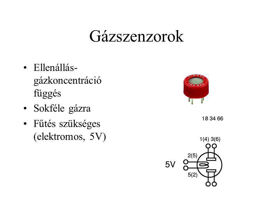 Gázszenzorok Ellenállás-gázkoncentráció függés Sokféle gázra