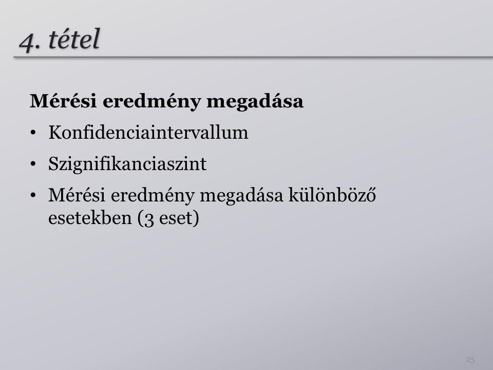 4. tétel Mérési eredmény megadása Konfidenciaintervallum