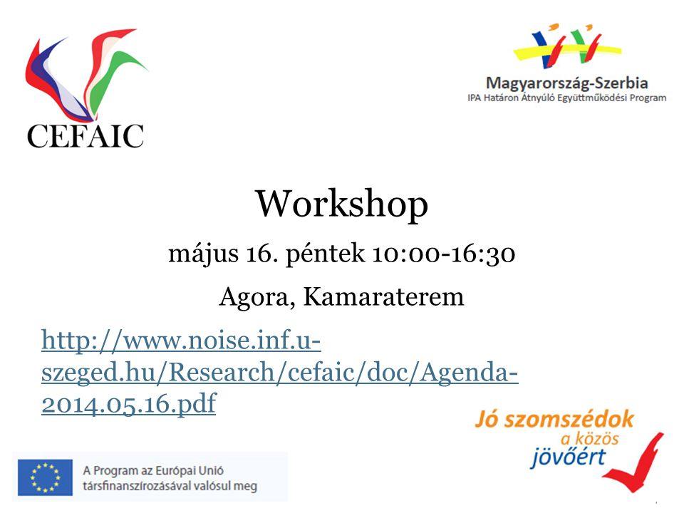 Workshop május 16. péntek 10:00-16:30 Agora, Kamaraterem