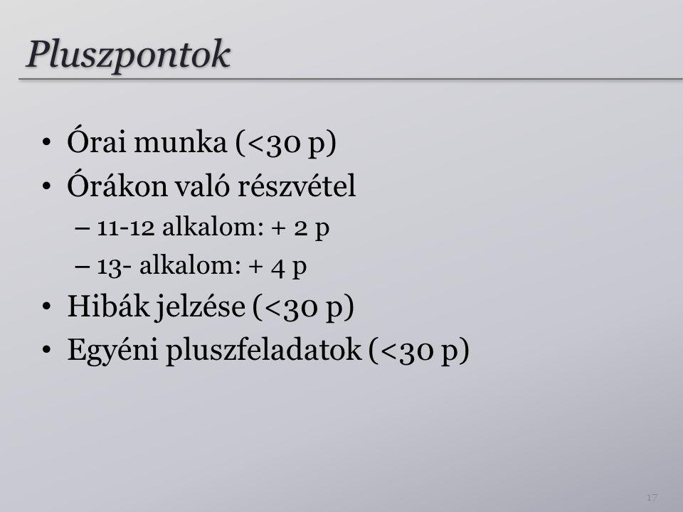 Pluszpontok Órai munka (<30 p) Órákon való részvétel
