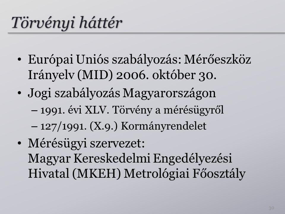 Törvényi háttér Európai Uniós szabályozás: Mérőeszköz Irányelv (MID) 2006. október 30. Jogi szabályozás Magyarországon.