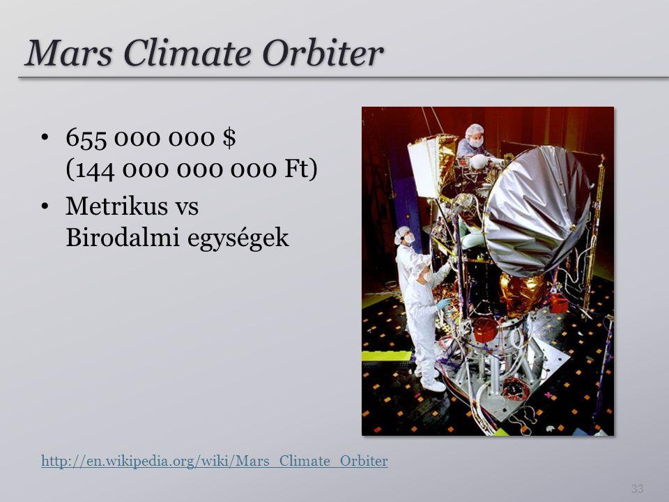 Mars Climate Orbiter 655 000 000 $ (144 000 000 000 Ft)