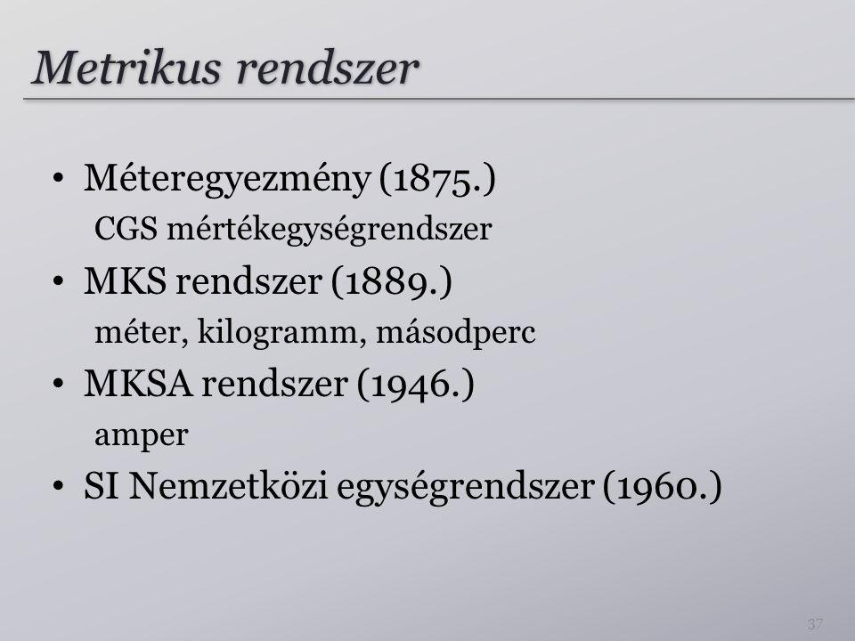 Metrikus rendszer Méteregyezmény (1875.) MKS rendszer (1889.)