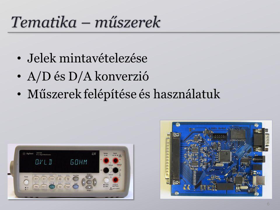 Tematika – műszerek Jelek mintavételezése A/D és D/A konverzió