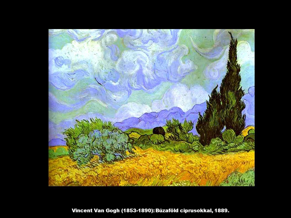Vincent Van Gogh (1853-1890): Búzaföld ciprusokkal, 1889.
