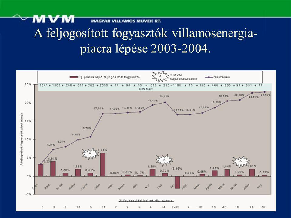 A feljogosított fogyasztók villamosenergia-piacra lépése 2003-2004.