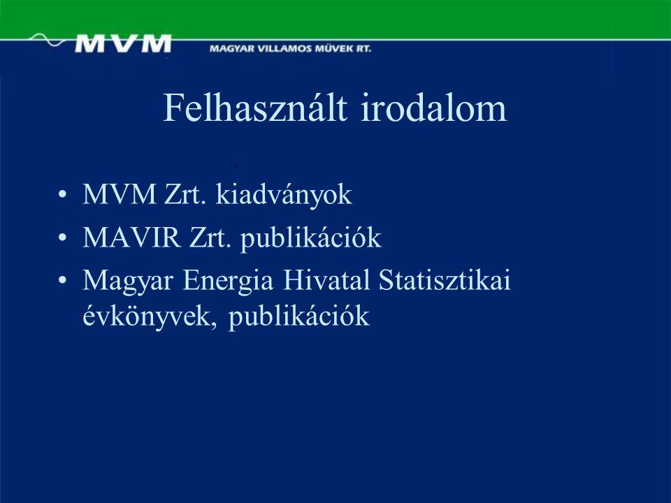 Felhasznált irodalom MVM Zrt. kiadványok MAVIR Zrt. publikációk