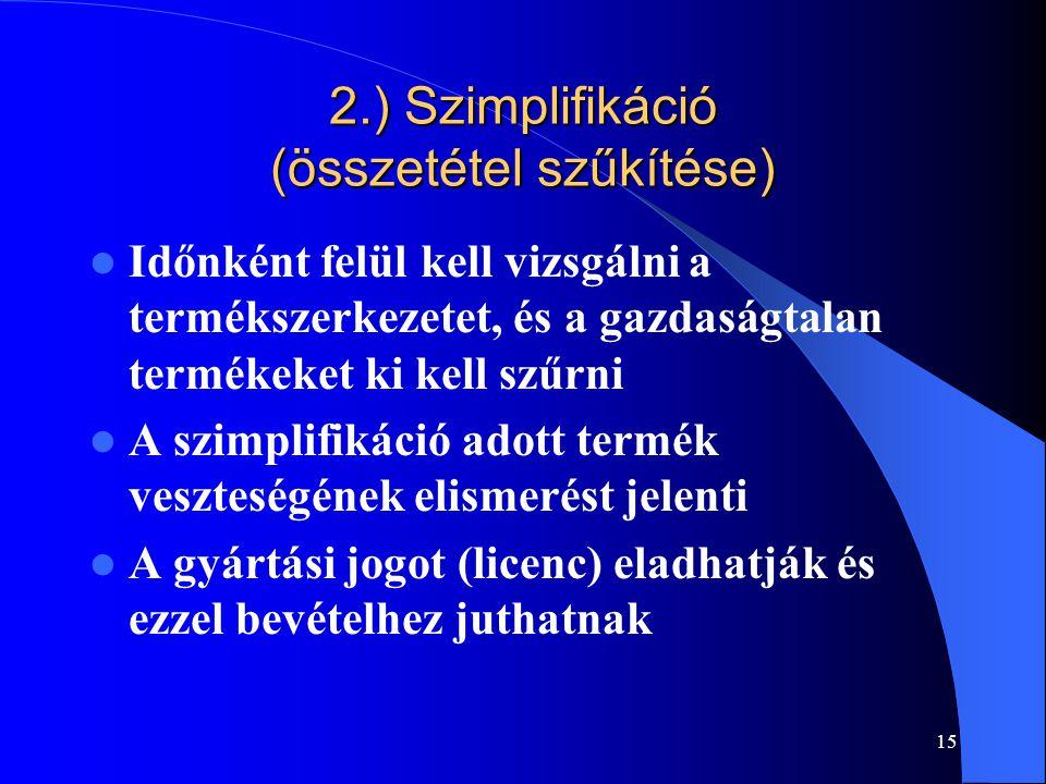 2.) Szimplifikáció (összetétel szűkítése)