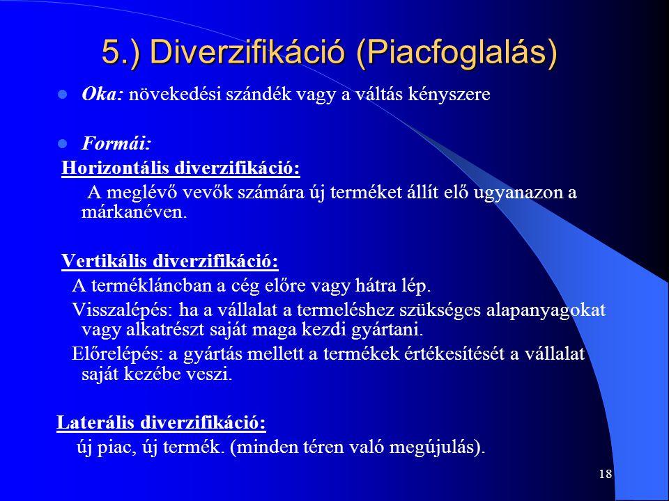 5.) Diverzifikáció (Piacfoglalás)