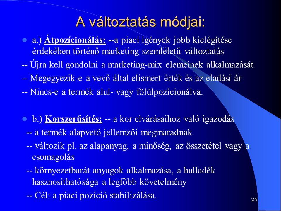 A változtatás módjai: a.) Átpozícionálás: --a piaci igények jobb kielégítése érdekében történő marketing szemléletű változtatás.