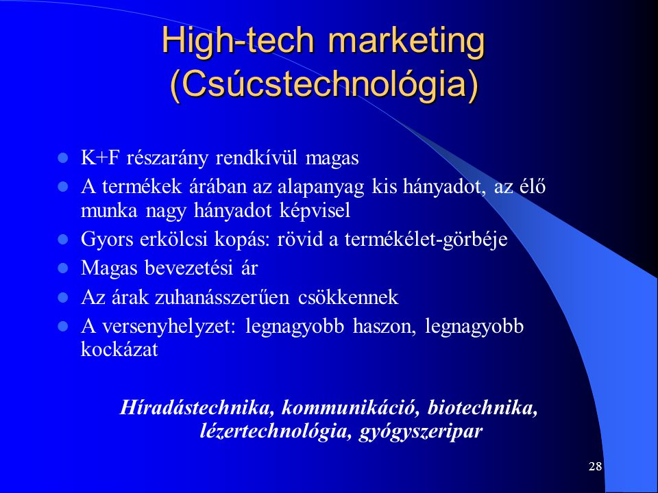 High-tech marketing (Csúcstechnológia)