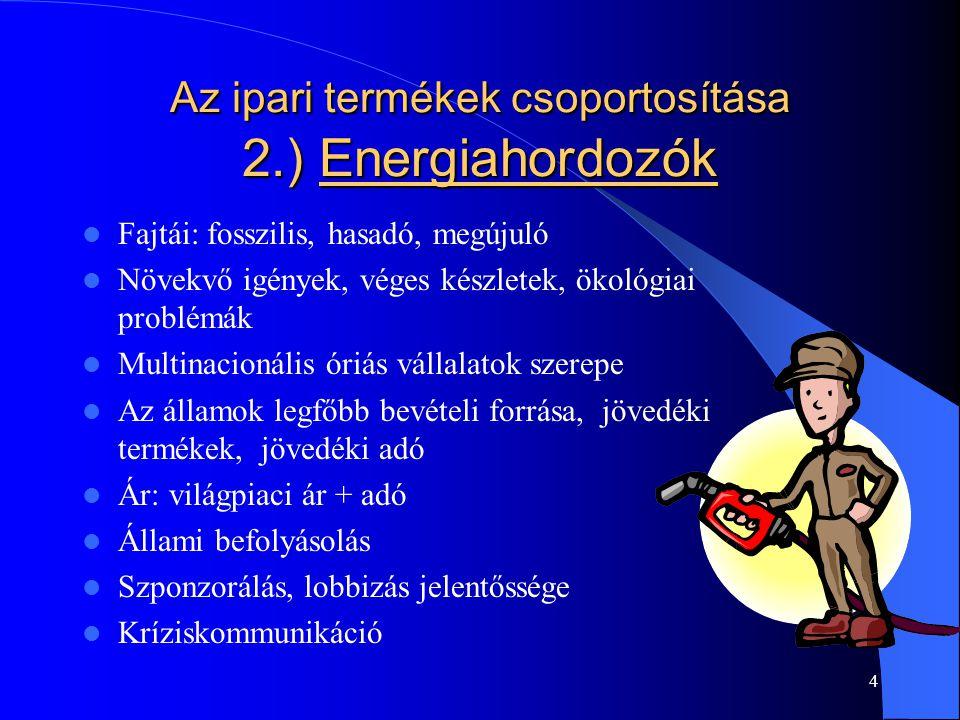 Az ipari termékek csoportosítása 2.) Energiahordozók