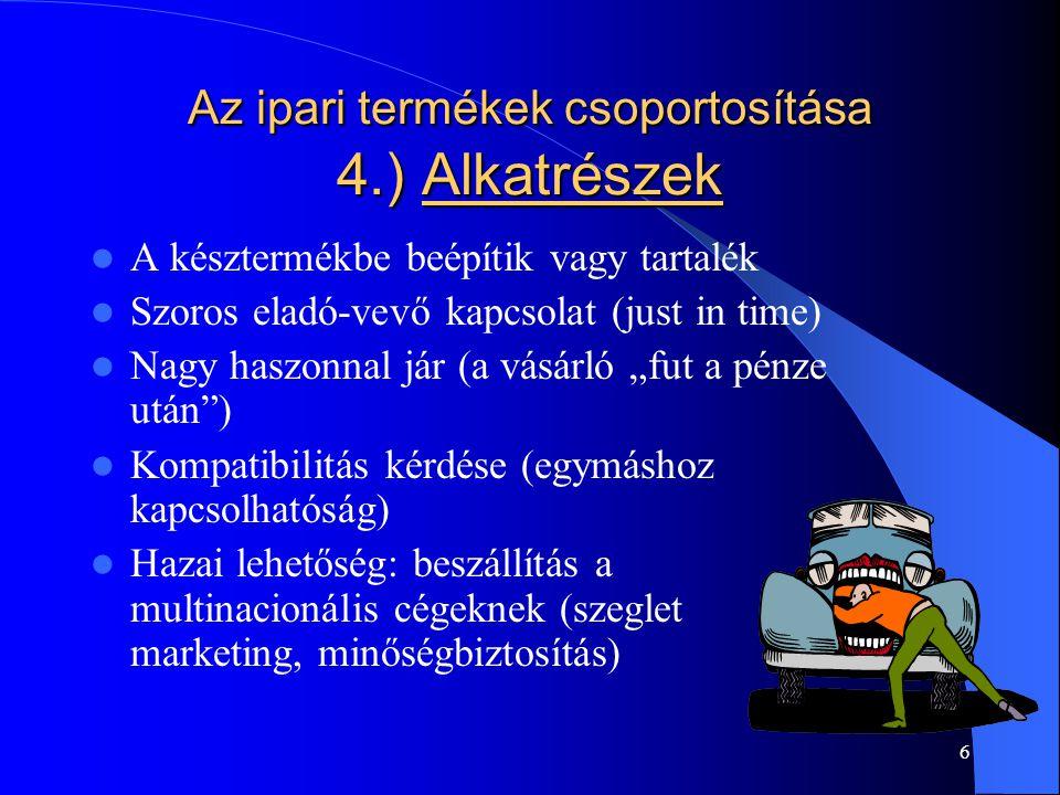 Az ipari termékek csoportosítása 4.) Alkatrészek