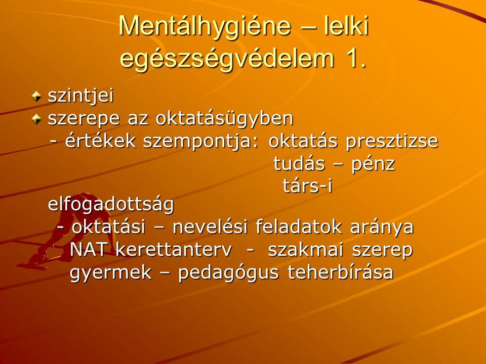 Mentálhygiéne – lelki egészségvédelem 1.
