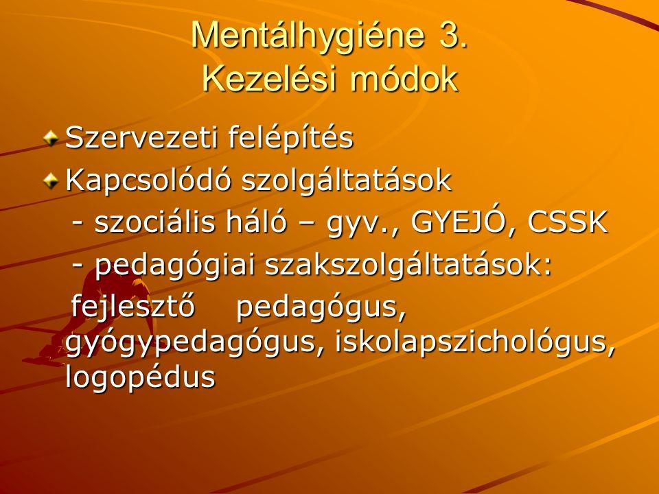 Mentálhygiéne 3. Kezelési módok