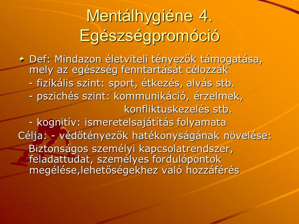 Mentálhygiéne 4. Egészségpromóció