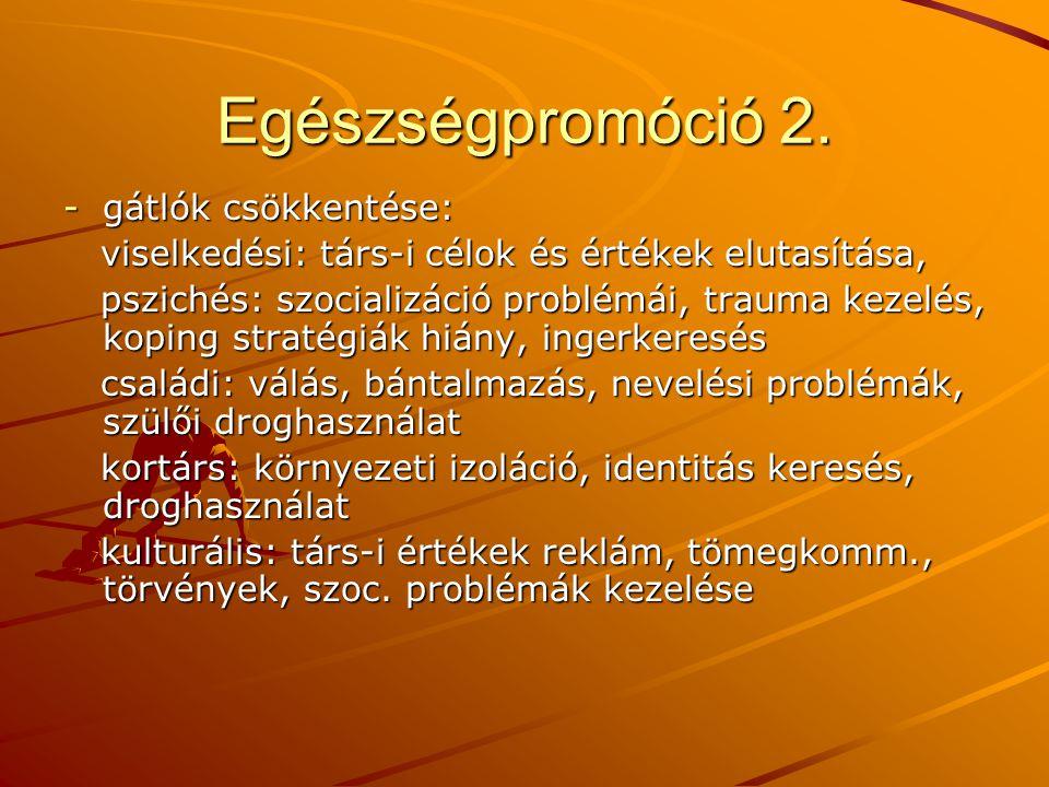 Egészségpromóció 2. gátlók csökkentése: