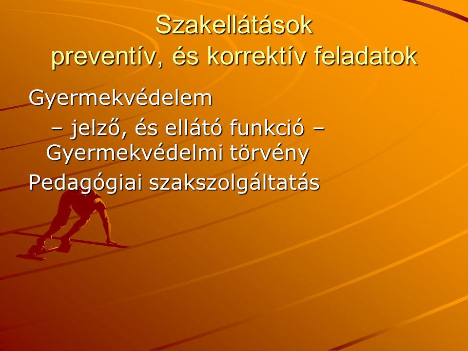 Szakellátások preventív, és korrektív feladatok
