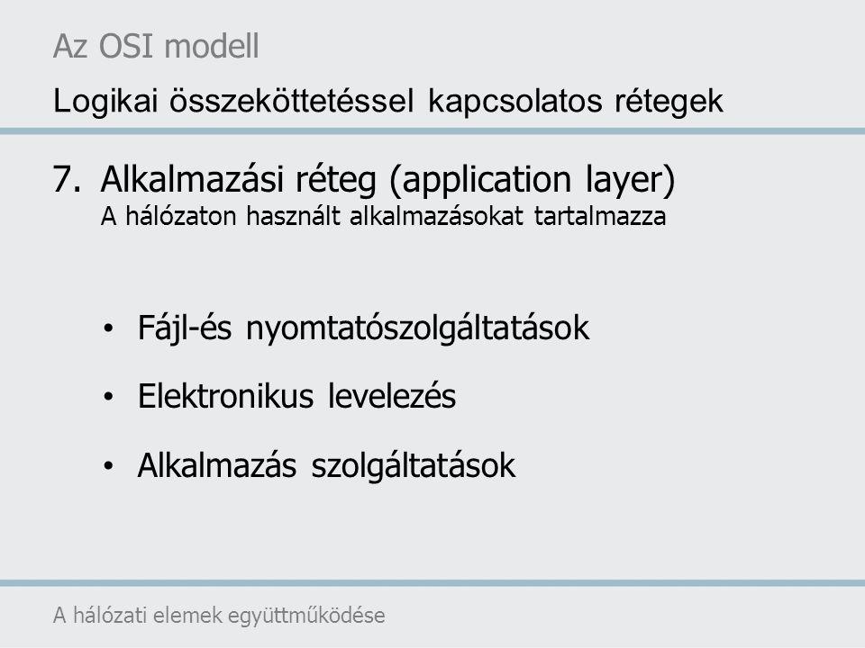 Az OSI modell Logikai összeköttetéssel kapcsolatos rétegek. Alkalmazási réteg (application layer) A hálózaton használt alkalmazásokat tartalmazza.