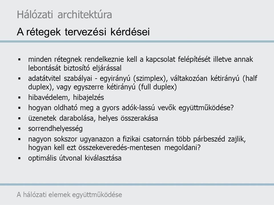 Hálózati architektúra