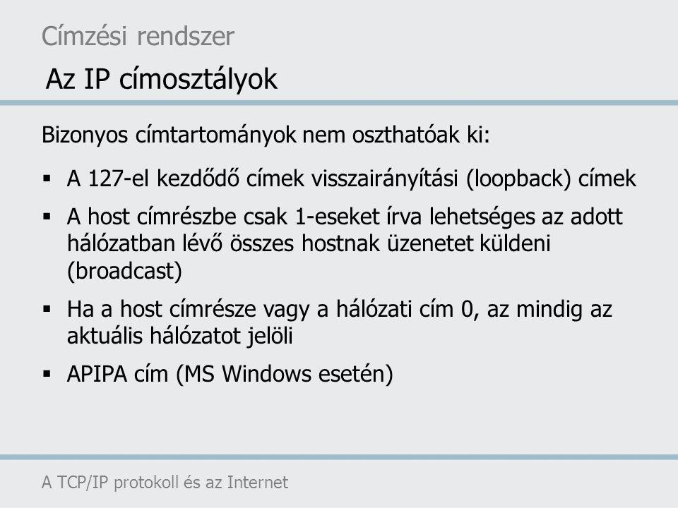 Az IP címosztályok Címzési rendszer