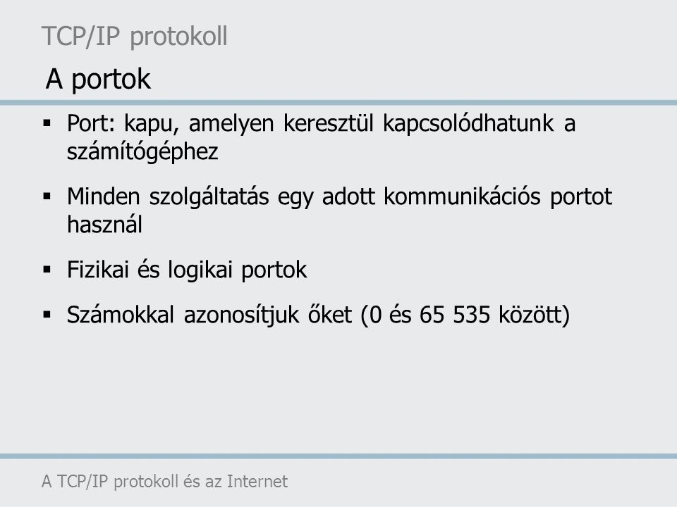 A portok TCP/IP protokoll
