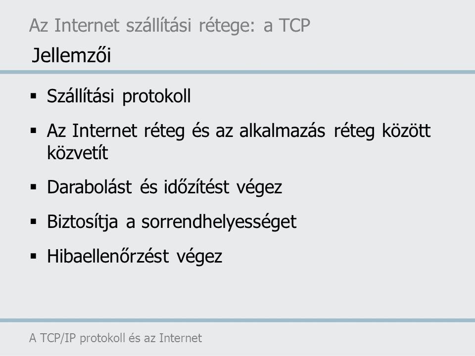 Jellemzői Az Internet szállítási rétege: a TCP Szállítási protokoll