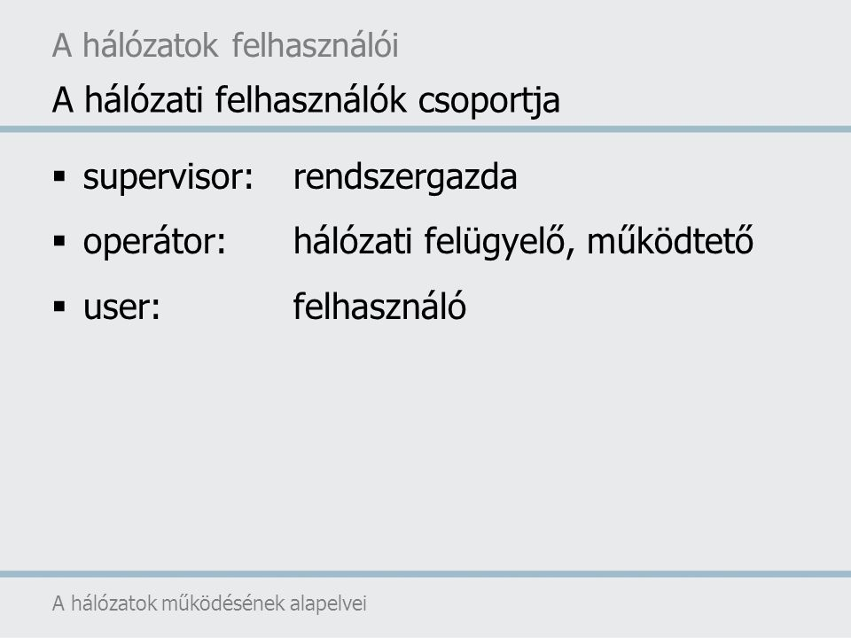 A hálózati felhasználók csoportja