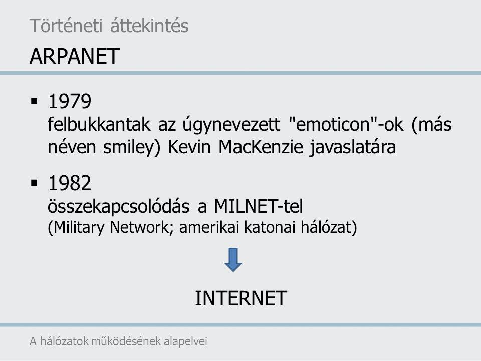Történeti áttekintés ARPANET. 1979 felbukkantak az úgynevezett emoticon -ok (más néven smiley) Kevin MacKenzie javaslatára.