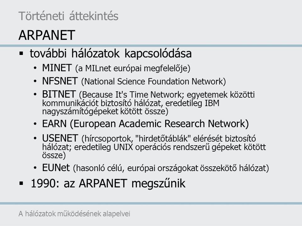 ARPANET Történeti áttekintés további hálózatok kapcsolódása