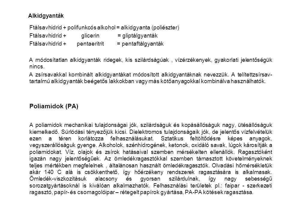 Alkidgyanták Ftálsavhidrid + polifunkcós alkohol = alkidgyanta (poliészter) Ftálsavhidrid + glicerin = gliptálgyanták.