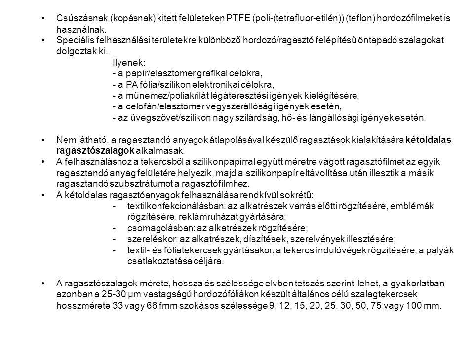 Csúszásnak (kopásnak) kitett felületeken PTFE (poli-(tetrafluor-etilén)) (teflon) hordozófilmeket is használnak.