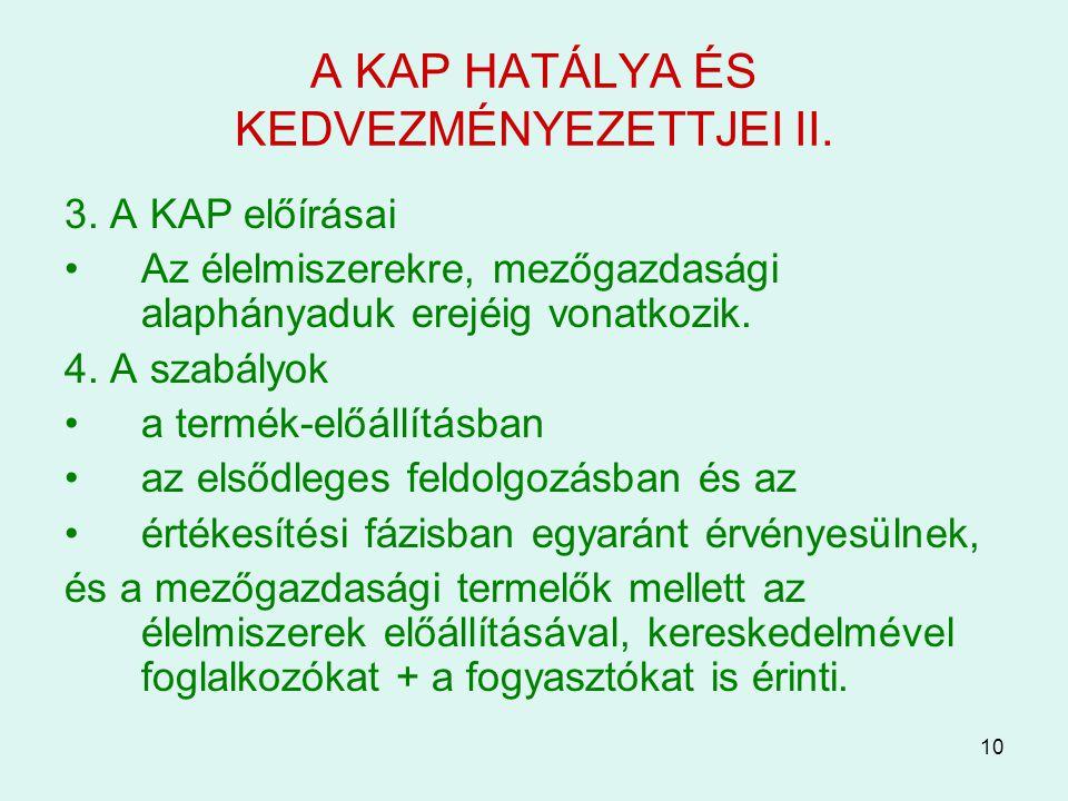 A KAP HATÁLYA ÉS KEDVEZMÉNYEZETTJEI II.