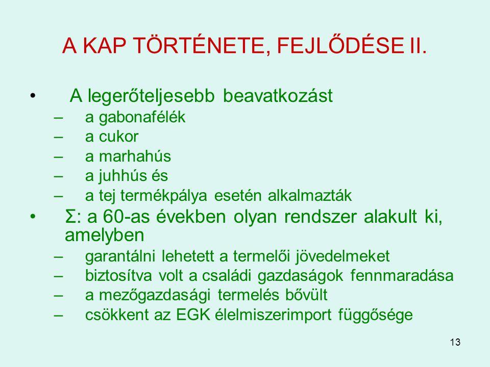 A KAP TÖRTÉNETE, FEJLŐDÉSE II.