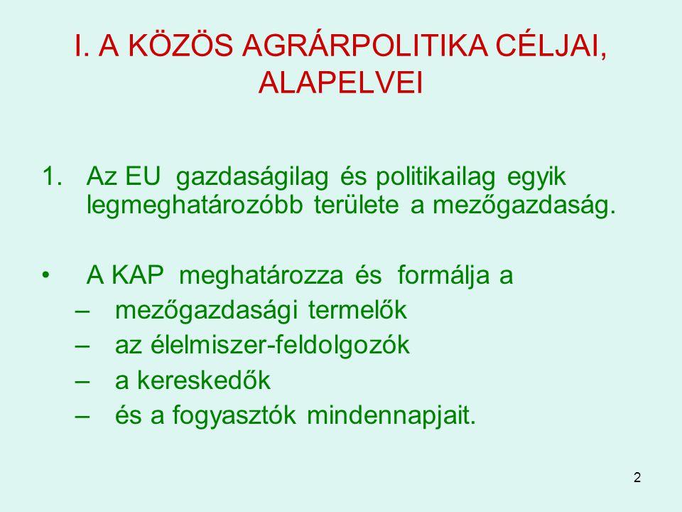 I. A KÖZÖS AGRÁRPOLITIKA CÉLJAI, ALAPELVEI