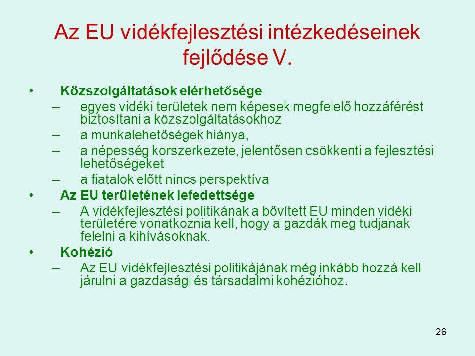 Az EU vidékfejlesztési intézkedéseinek fejlődése V.