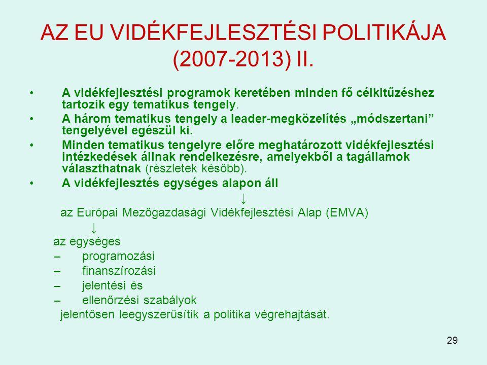 AZ EU VIDÉKFEJLESZTÉSI POLITIKÁJA (2007-2013) II.