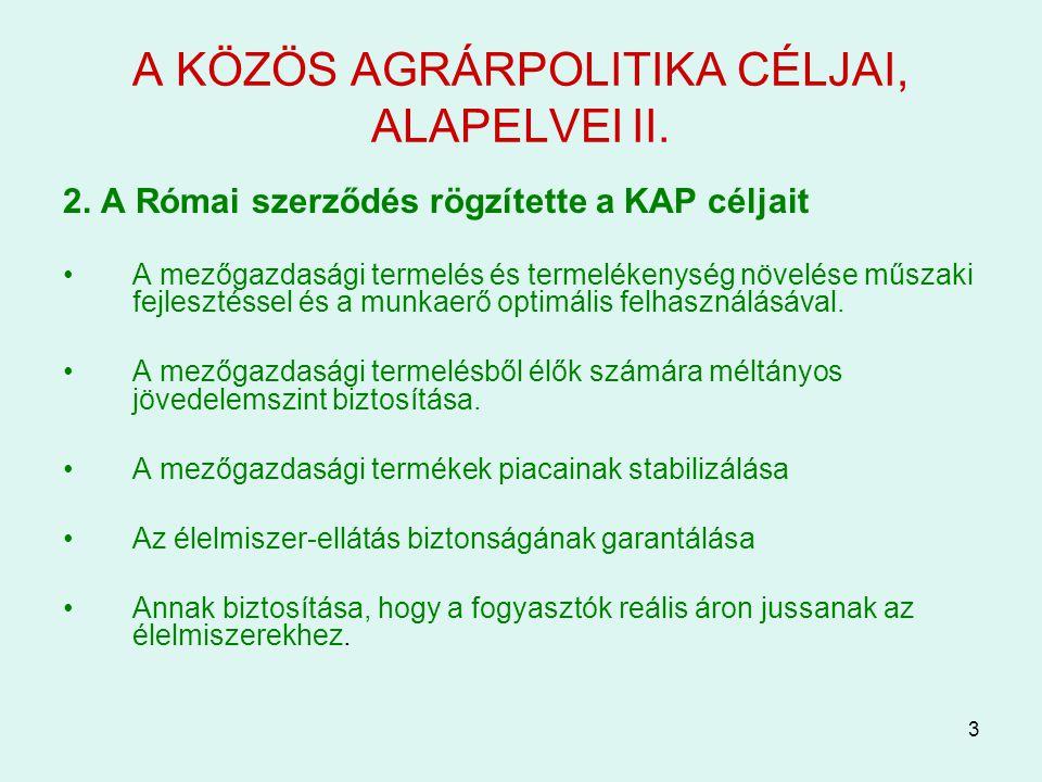 A KÖZÖS AGRÁRPOLITIKA CÉLJAI, ALAPELVEI II.