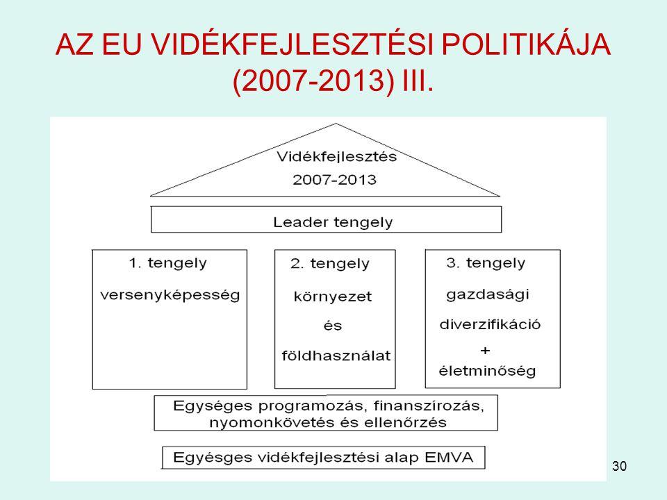 AZ EU VIDÉKFEJLESZTÉSI POLITIKÁJA (2007-2013) III.