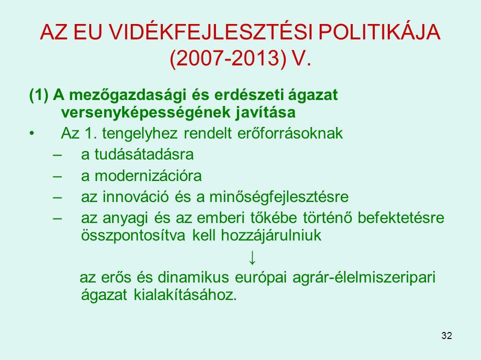 AZ EU VIDÉKFEJLESZTÉSI POLITIKÁJA (2007-2013) V.
