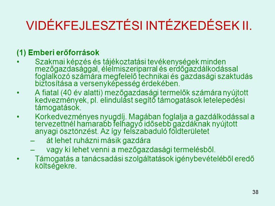VIDÉKFEJLESZTÉSI INTÉZKEDÉSEK II.