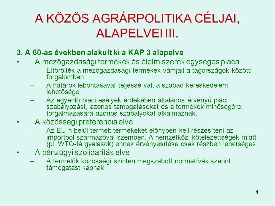 A KÖZÖS AGRÁRPOLITIKA CÉLJAI, ALAPELVEI III.