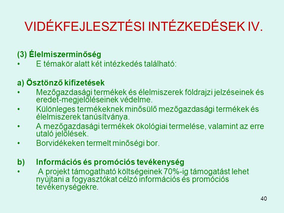 VIDÉKFEJLESZTÉSI INTÉZKEDÉSEK IV.