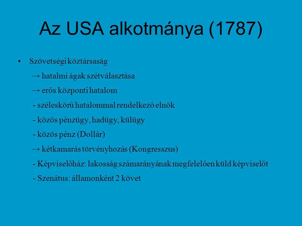 Az USA alkotmánya (1787) Szövetségi köztársaság