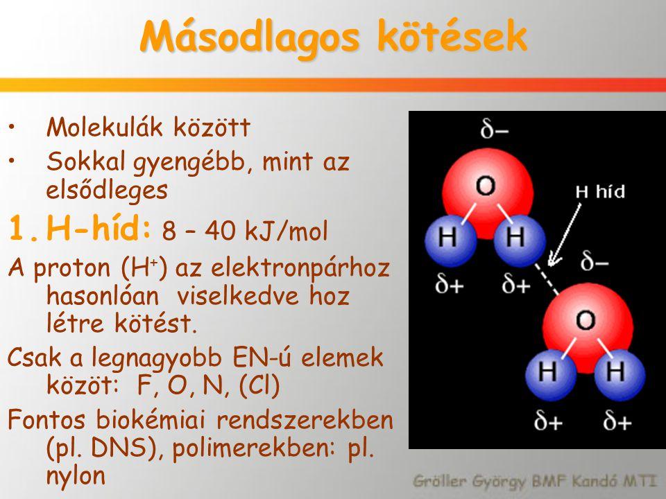 Másodlagos kötések H-híd: 8 – 40 kJ/mol Molekulák között