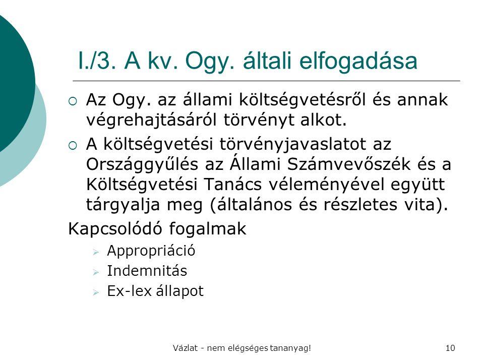 I./3. A kv. Ogy. általi elfogadása