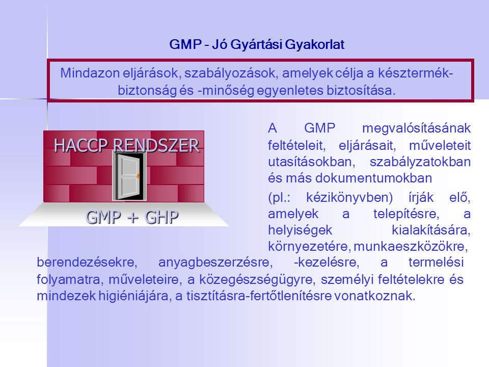 GMP - Jó Gyártási Gyakorlat