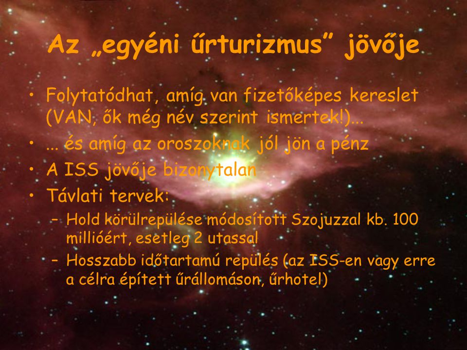 "Az ""egyéni űrturizmus jövője"