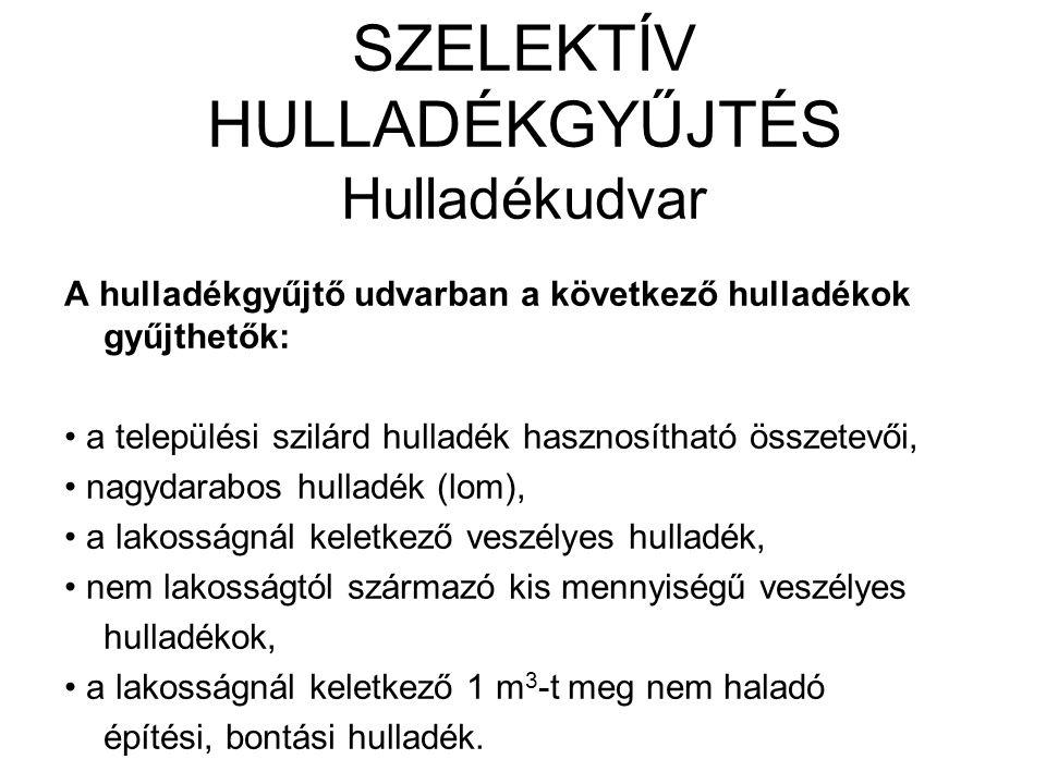 SZELEKTÍV HULLADÉKGYŰJTÉS Hulladékudvar