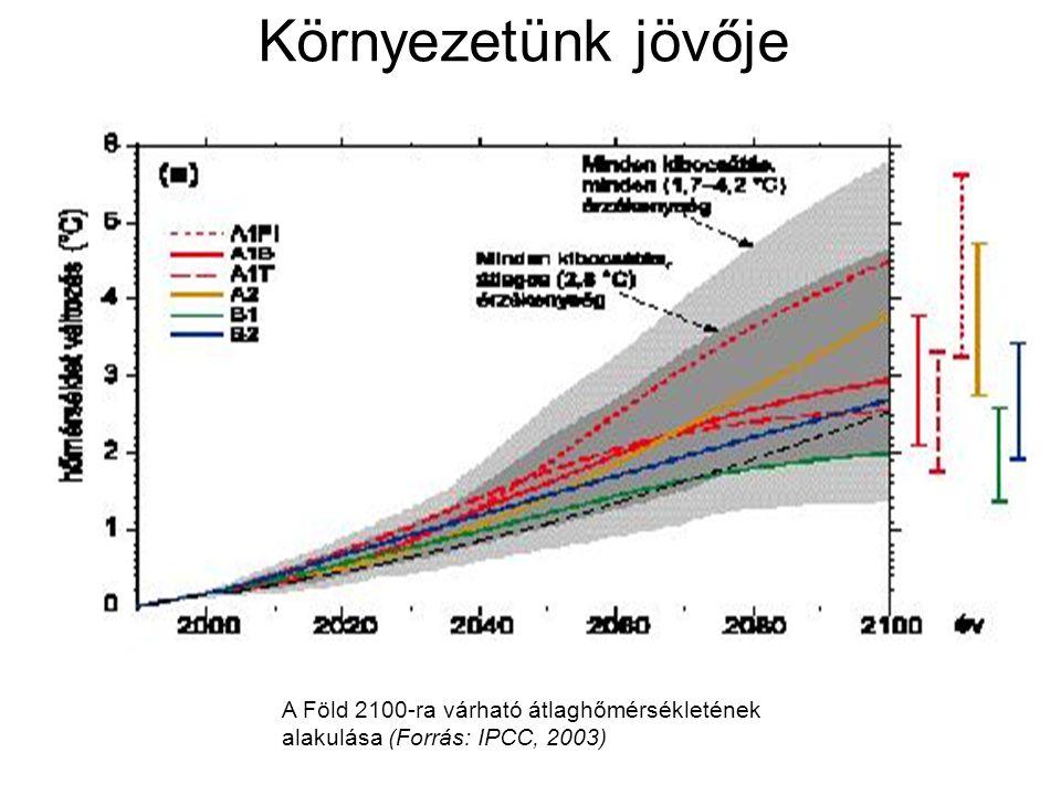 Környezetünk jövője A Föld 2100-ra várható átlaghőmérsékletének alakulása (Forrás: IPCC, 2003)
